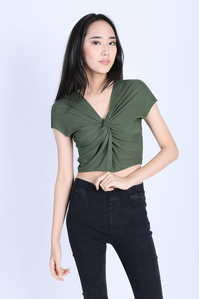 RAW EDGES TWISTED CROP TOP IN OLIVE