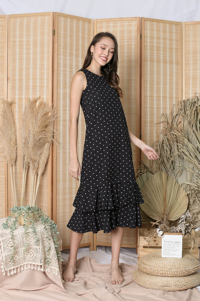 *TPZ* (PREMIUM) CORNELIA ZIPPER DRESS IN BLACK POLKA DOTS