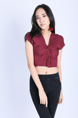 e2350e00979 RAW EDGES TWISTED CROP TOP IN WINE