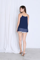 AUDREY SLIT SPAG TOP IN NAVY