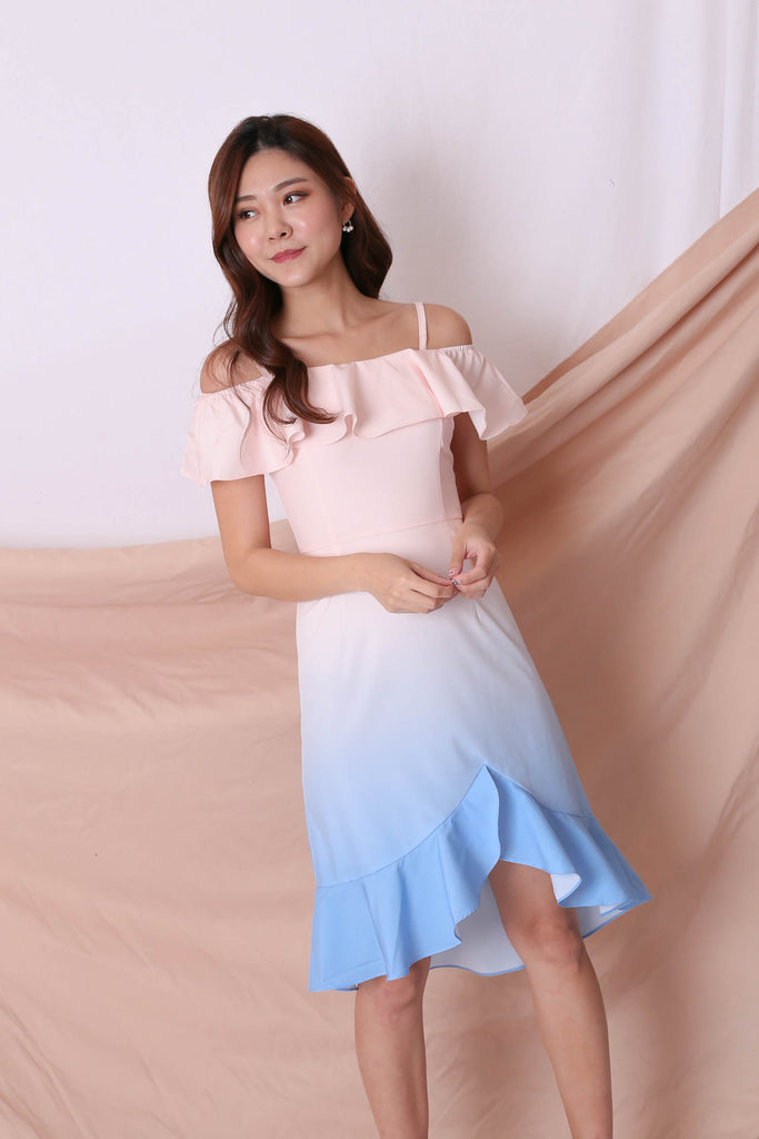 *TPZ* (PREMIUM) FRANCESCA 4 WAYS OMBRE DRESS (PASTEL PINK/ BLUE) - TOPAZETTE
