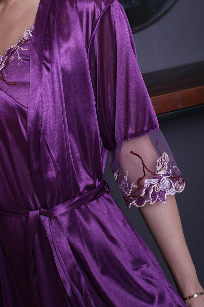 VELLA SATIN CROCHET GOWN + ROBE SET IN ROYAL PURPLE
