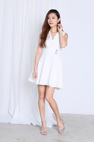 *TOPAZ* (PREMIUM) WIN TUXEDO SKATER DRESS IN WHITE