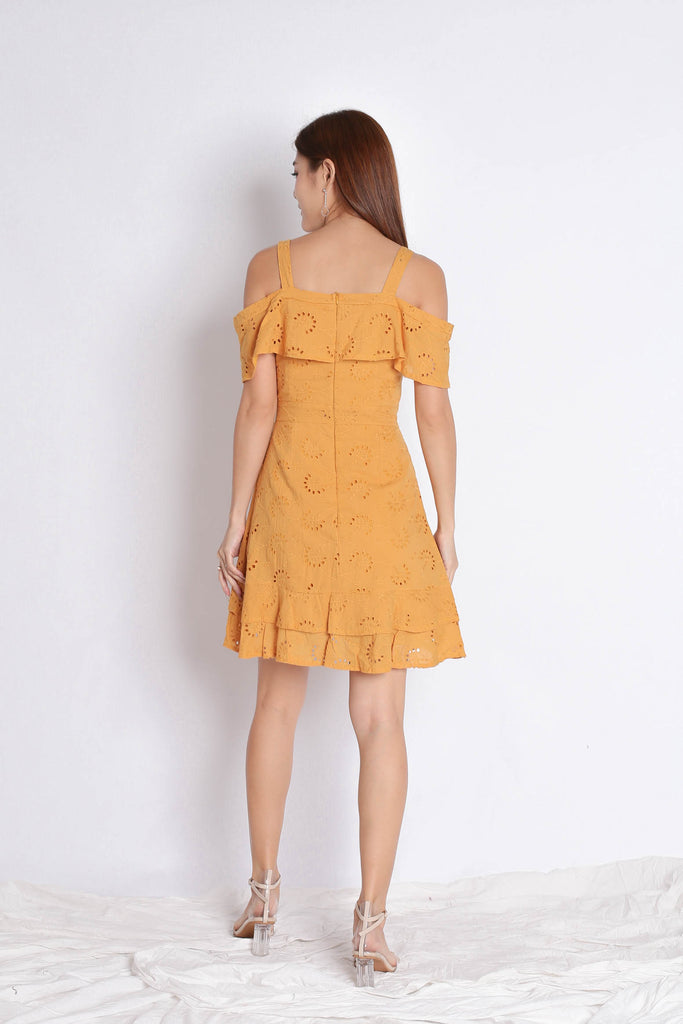 (PREMIUM) GYPSY EYELET DRESS IN MARIGOLD - TOPAZETTE