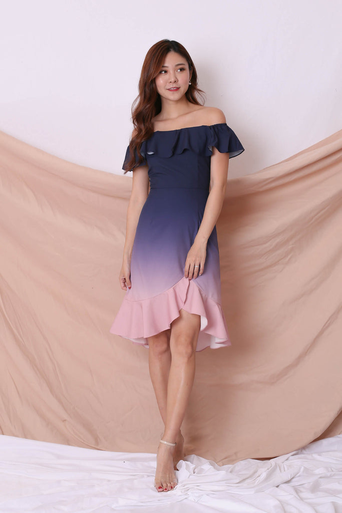 *TPZ* (PREMIUM) FRANCESCA 4 WAYS OMBRE DRESS (NAVY/ PINK) - TOPAZETTE