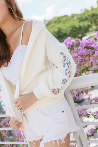 BLAIR EMBROIDERY HOODED JACKET IN CREAM