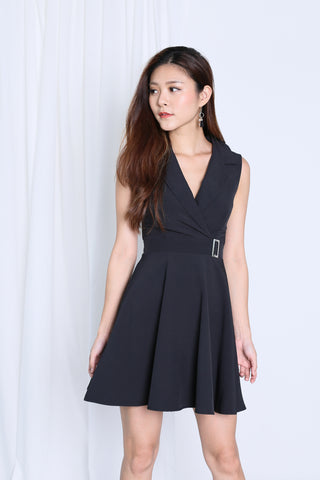 *TOPAZ* (PREMIUM) WIN TUXEDO SKATER DRESS IN BLACK