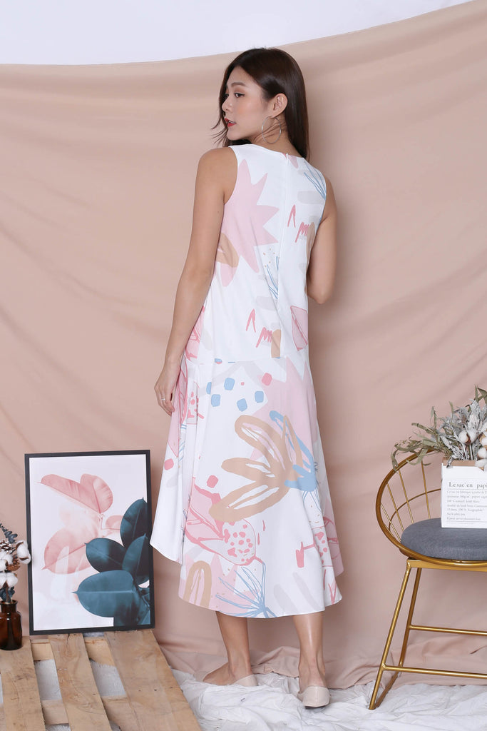 (PREMIUM) YAL FLORAL ABSTRACT ASYMMETRICAL DRESS IN PINK - TOPAZETTE