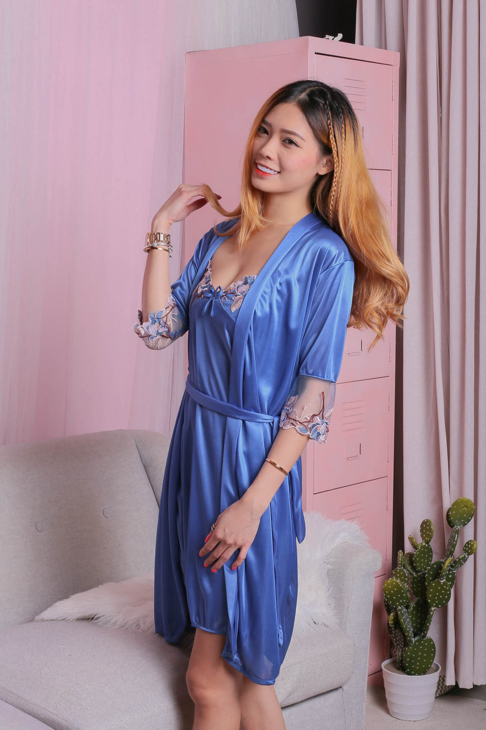 VELLA SATIN CROCHET GOWN + ROBE SET IN BLUE