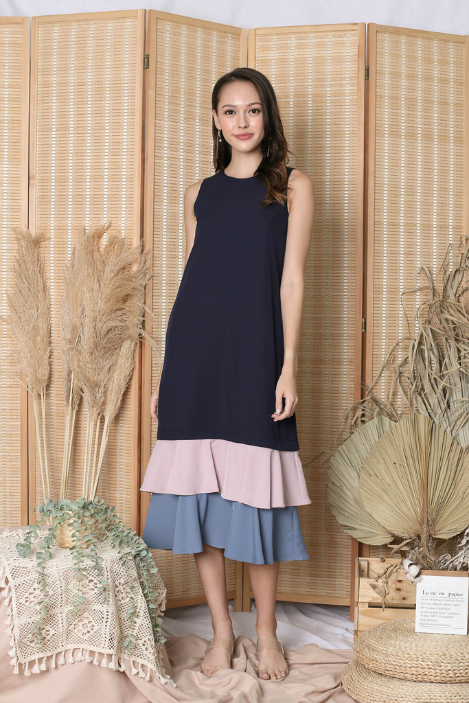 *TPZ* (PREMIUM) CORNELIA ZIPPER DRESS IN NAVY (WITH PINK/ STALE BLUE HEMS)