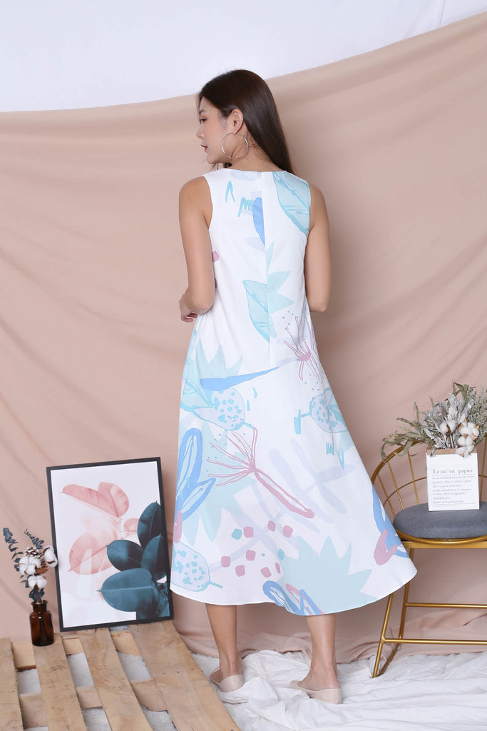 (PREMIUM) YAL FLORAL ABSTRACT ASYMMETRICAL DRESS IN BLUE - TOPAZETTE