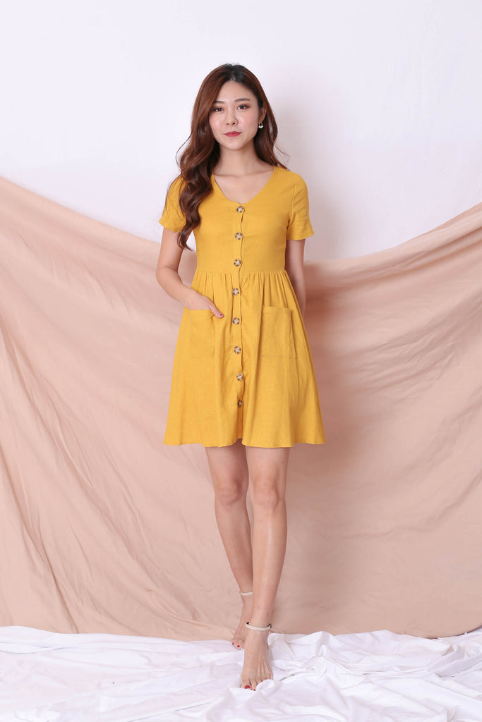 *TPZ* (PREMIUM) DANIELLE LINEN BUTTON DRESS IN MUSTARD - TOPAZETTE