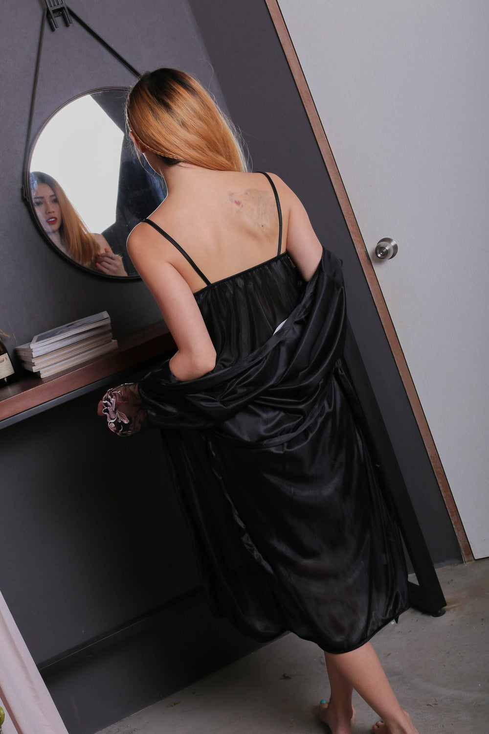 VELLA SATIN CROCHET GOWN + ROBE SET IN BLACK