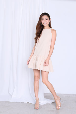 SUMMER DROP WAIST DRESS IN BEIGE