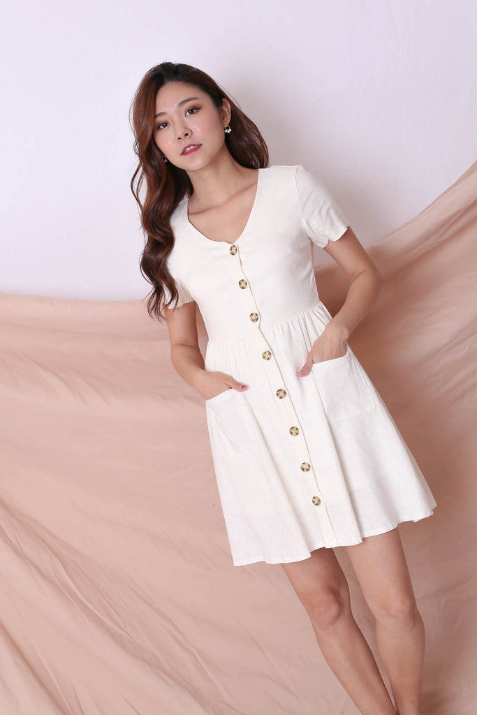 *TPZ* (PREMIUM) DANIELLE LINEN BUTTON DRESS IN CREAM - TOPAZETTE