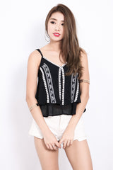 *TOPAZ* ON THE EDGE BOHO TOP IN BLACK - TOPAZETTE