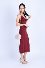 IOWA DRAPE DRESS IN WINE