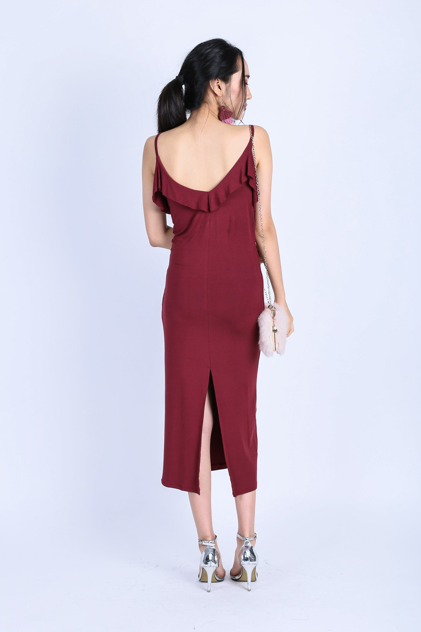 *BACKORDER* IOWA DRAPE DRESS IN WINE