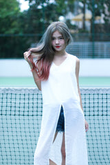 GO WITH THE FLOW TOP IN WHITE