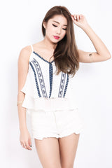 *TOPAZ* ON THE EDGE BOHO TOP IN WHITE - TOPAZETTE