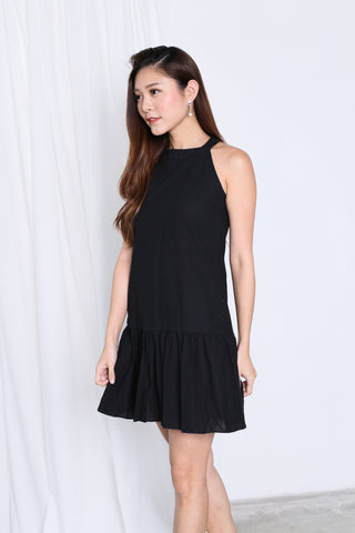 SUMMER DROP WAIST DRESS IN BLACK