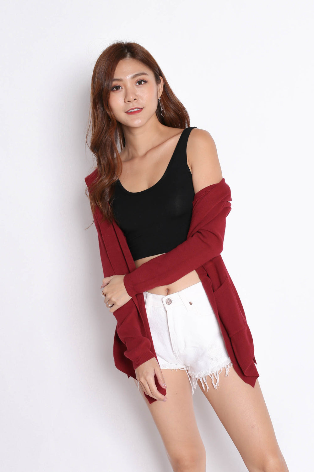 BRAE SOFT KNIT CARDIGAN IN BURGUNDY