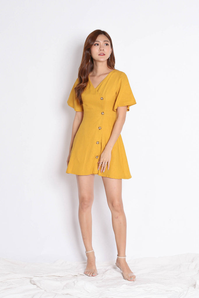 *TPZ* (PREMIUM) HEIDY LINEN DRESS IN MUSTARD - TOPAZETTE
