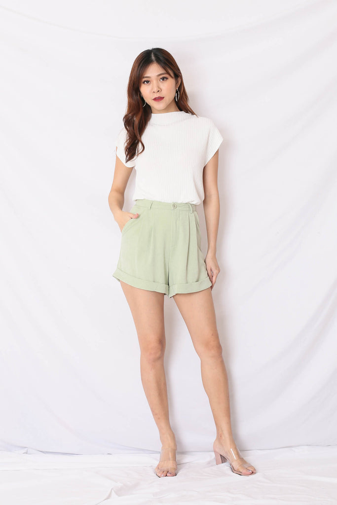 *TPZ* (PREMIUM) EVERY DAY CUFFED UP SHORTS IN SAGE GREEN