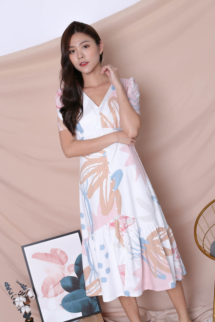 (PREMIUM) GIN FLORAL ABSTRACT SLEEVE BUTTON DRESS IN PINK - TOPAZETTE