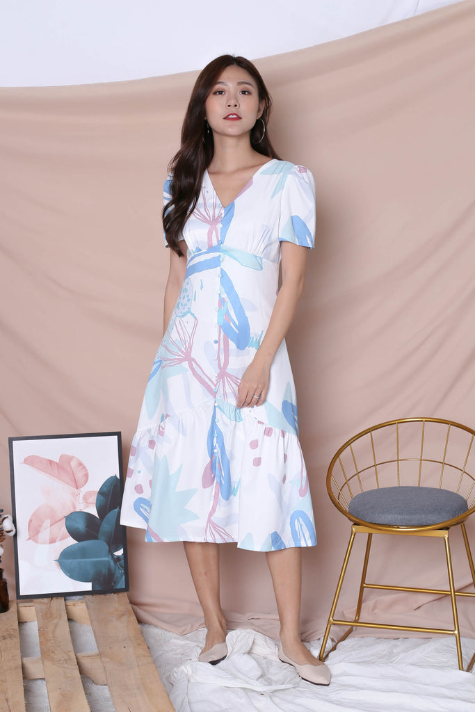 (PREMIUM) GIN FLORAL ABSTRACT SLEEVE BUTTON DRESS IN BLUE - TOPAZETTE
