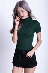 HIGHER GROUND RIBBED KNIT TOP IN FOREST - TOPAZETTE