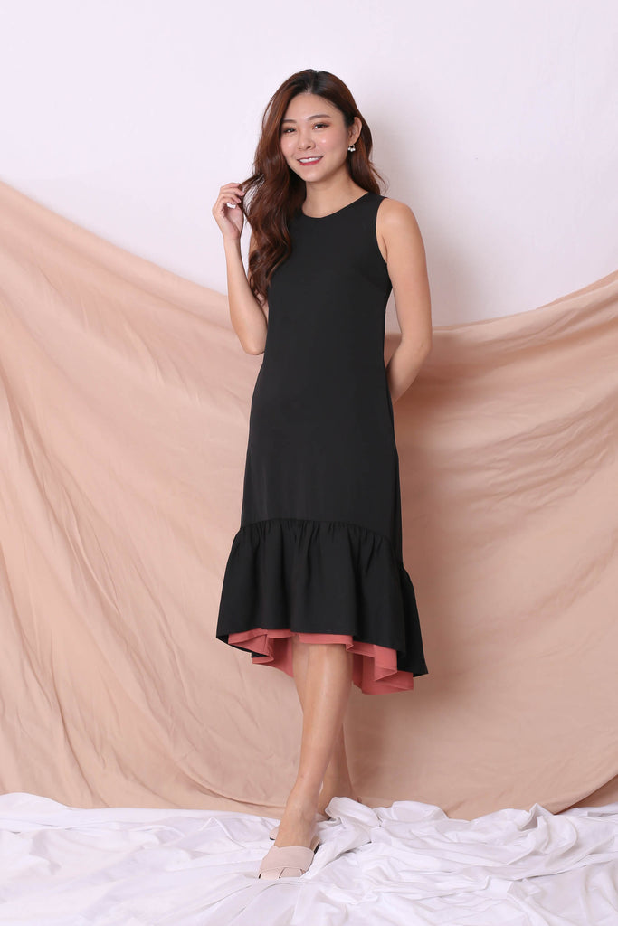 *TPZ* (PREMIUM) AMARIS REVERSIBLE ASYMMETRICAL DRESS (BLACK/ TEA ROSE) - TOPAZETTE