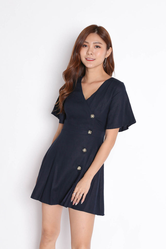 *TPZ* (PREMIUM) HEIDY LINEN DRESS IN NAVY - TOPAZETTE
