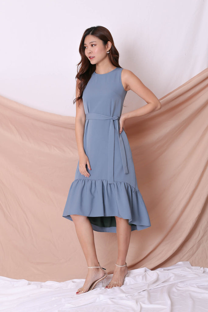*TPZ* (PREMIUM) AMARIS REVERSIBLE ASYMMETRICAL DRESS (FOREST/ BLUE) - TOPAZETTE