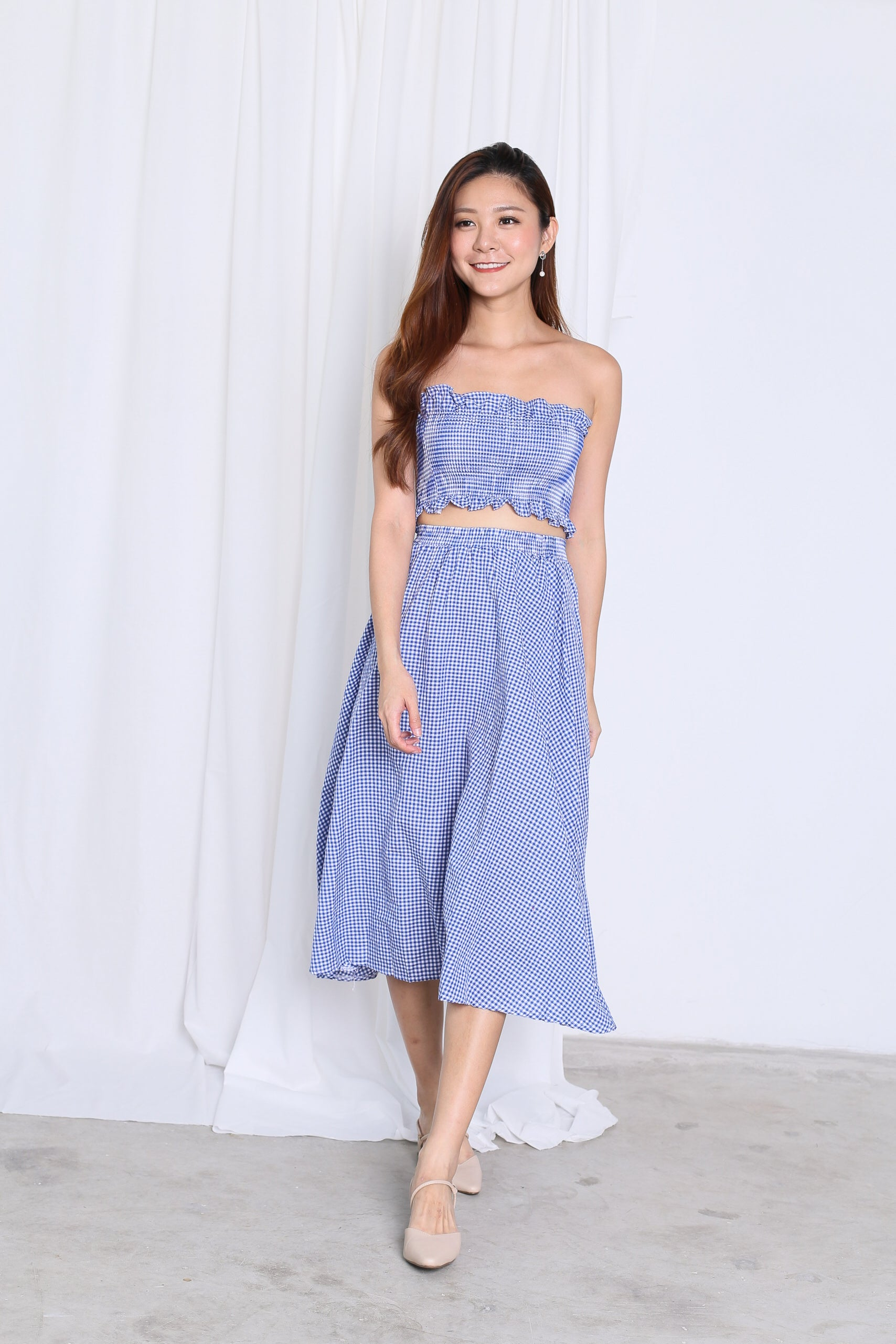 GINGHAM PICNIC SMOCKED TOP AND MIDI SET IN BLUE
