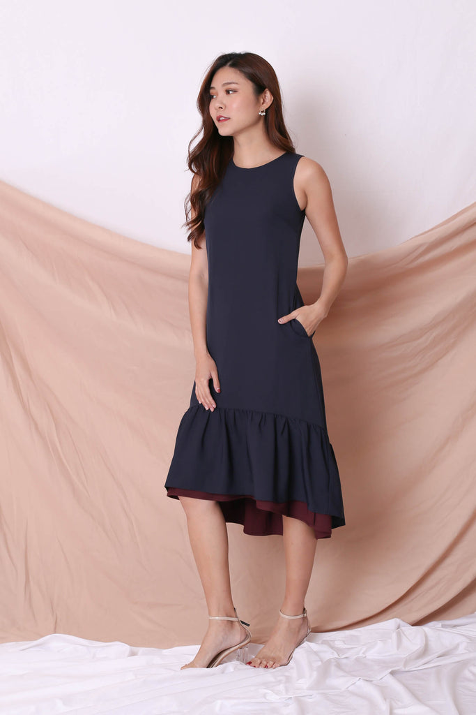 *TPZ* (PREMIUM) AMARIS REVERSIBLE ASYMMETRICAL DRESS (BURGUNDY/ NAVY) - TOPAZETTE