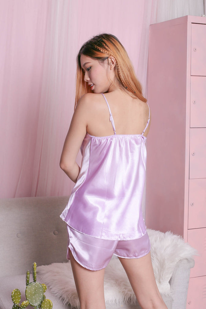 CROCHET SLEEPWEAR 2 PC SET (LILAC) - TOPAZETTE