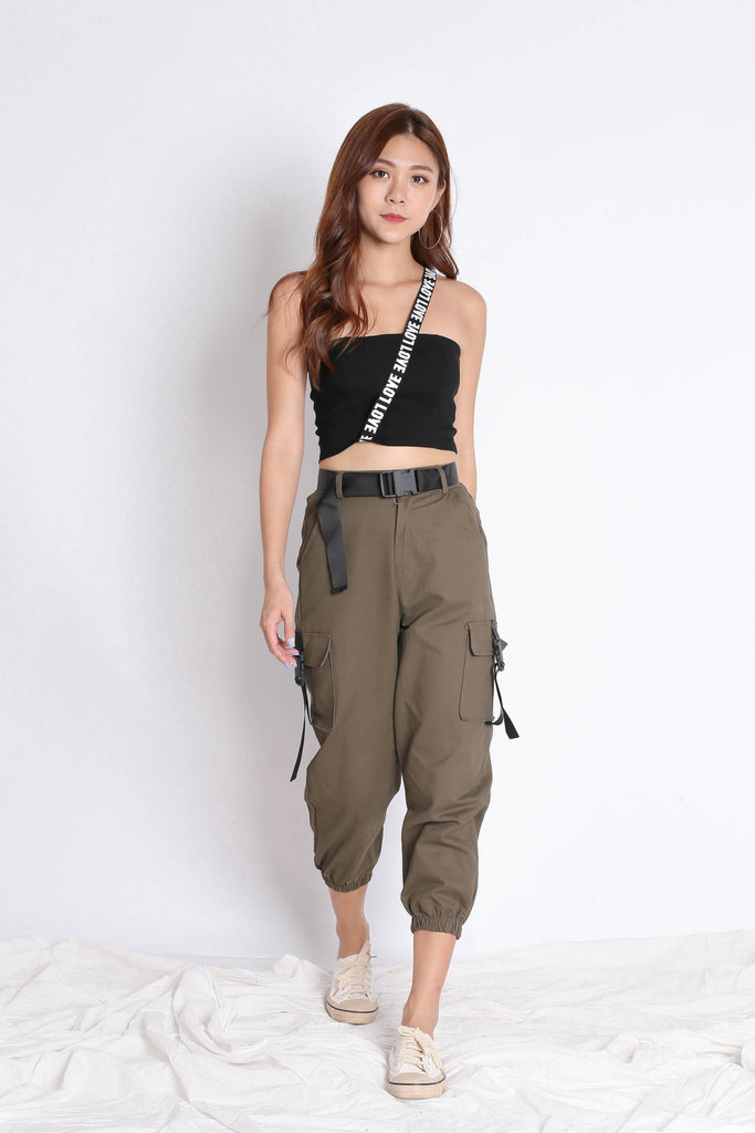 TOGA STRAP LOVE CROP TOP IN BLACK