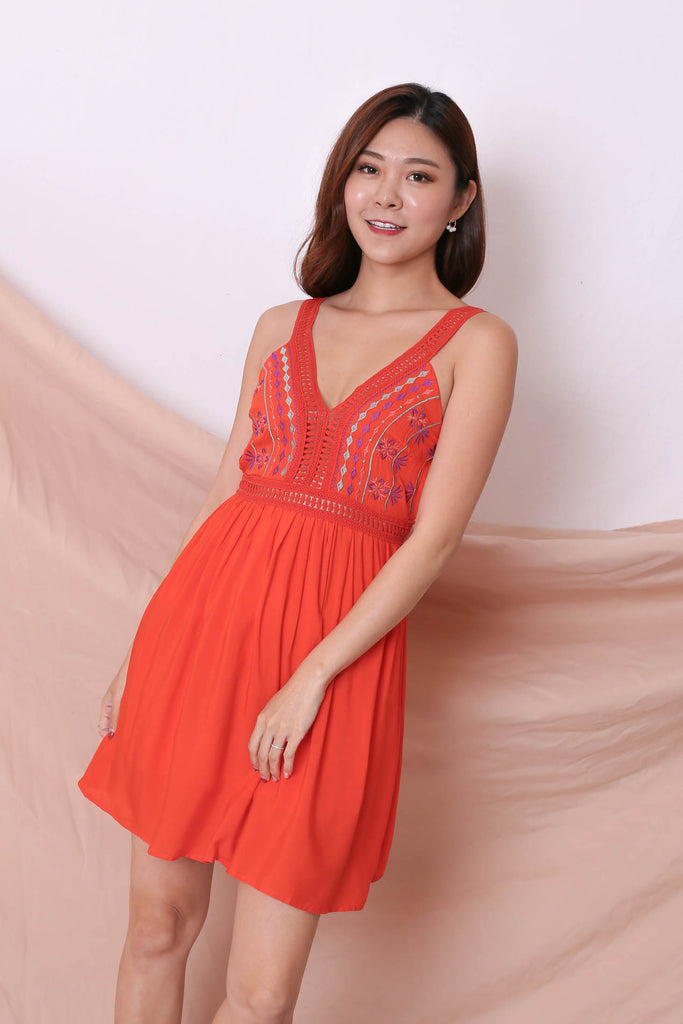 RIVKA EMBROIDERY DRESS IN BRIGHT CORAL - TOPAZETTE