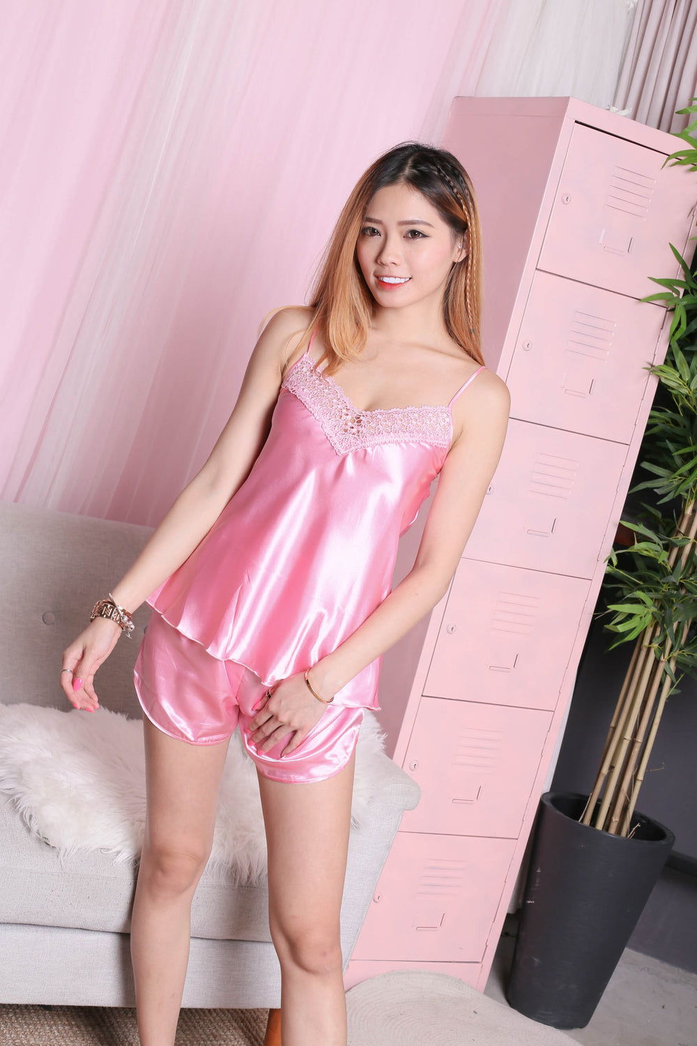 CROCHET SLEEPWEAR 2 PC SET (PINK)