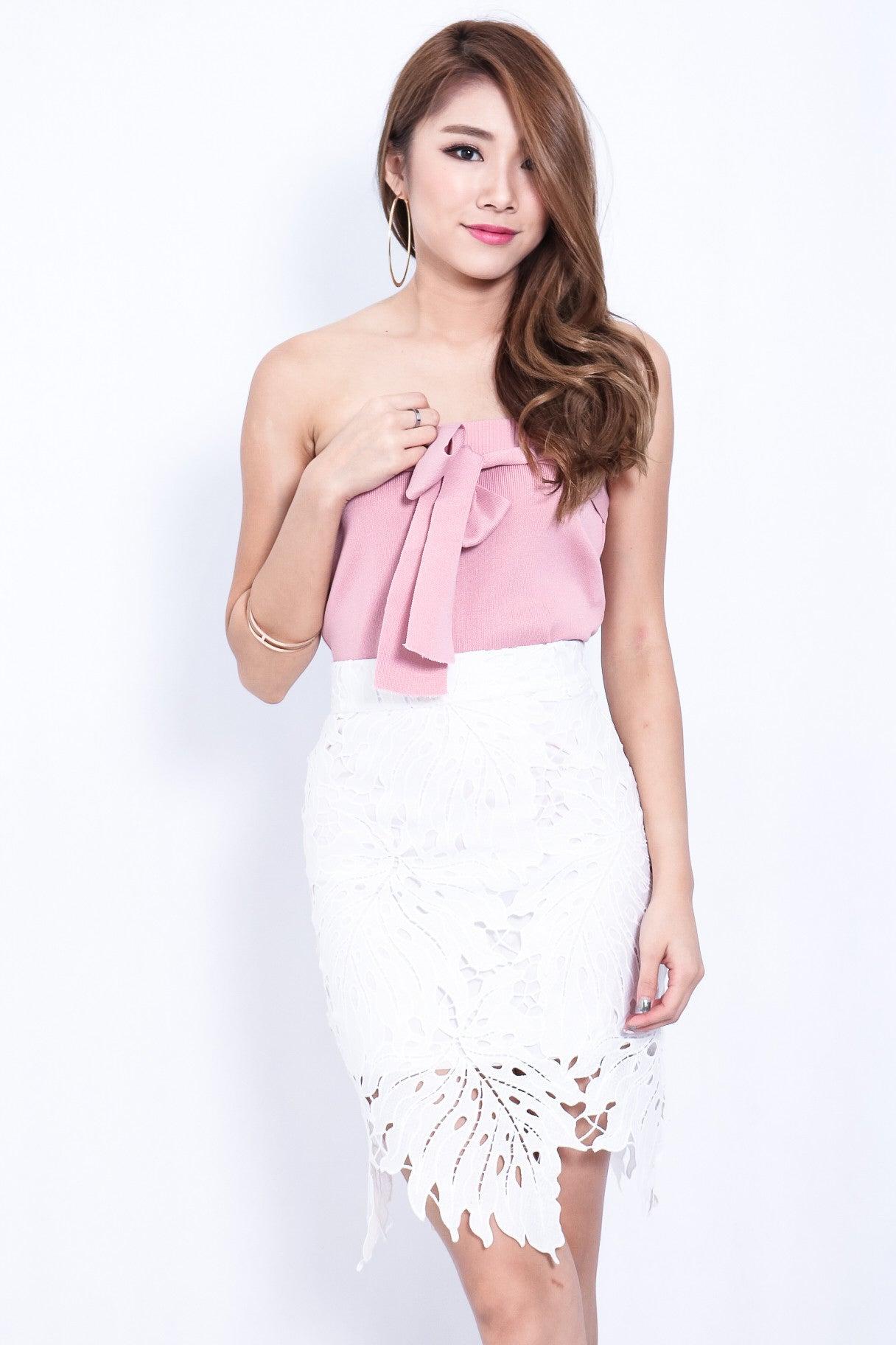 TAKE A LEAF CROCHET SKIRT IN WHITE