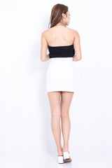 OUTLINED ASYMMETRICAL SKIRT IN WHITE - TOPAZETTE