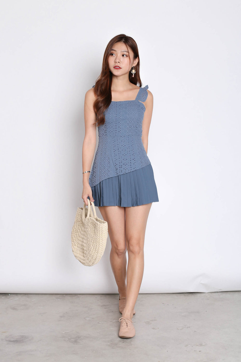 (PREMIUM) JULISSA EYELET PLEATED ROMPER IN STALE BLUE