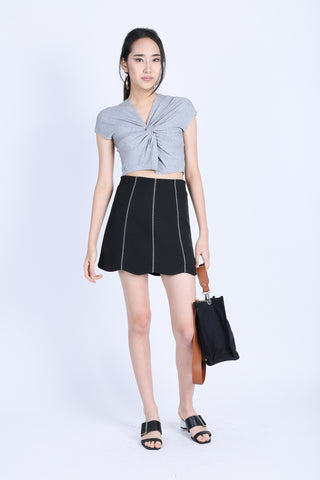 245f8998242 RAW EDGES TWISTED CROP TOP IN LIGHT GREY