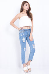 (RESTOCKED) FRAYED HEM BOYFRIEND JEANS IN DARK WASH - TOPAZETTE