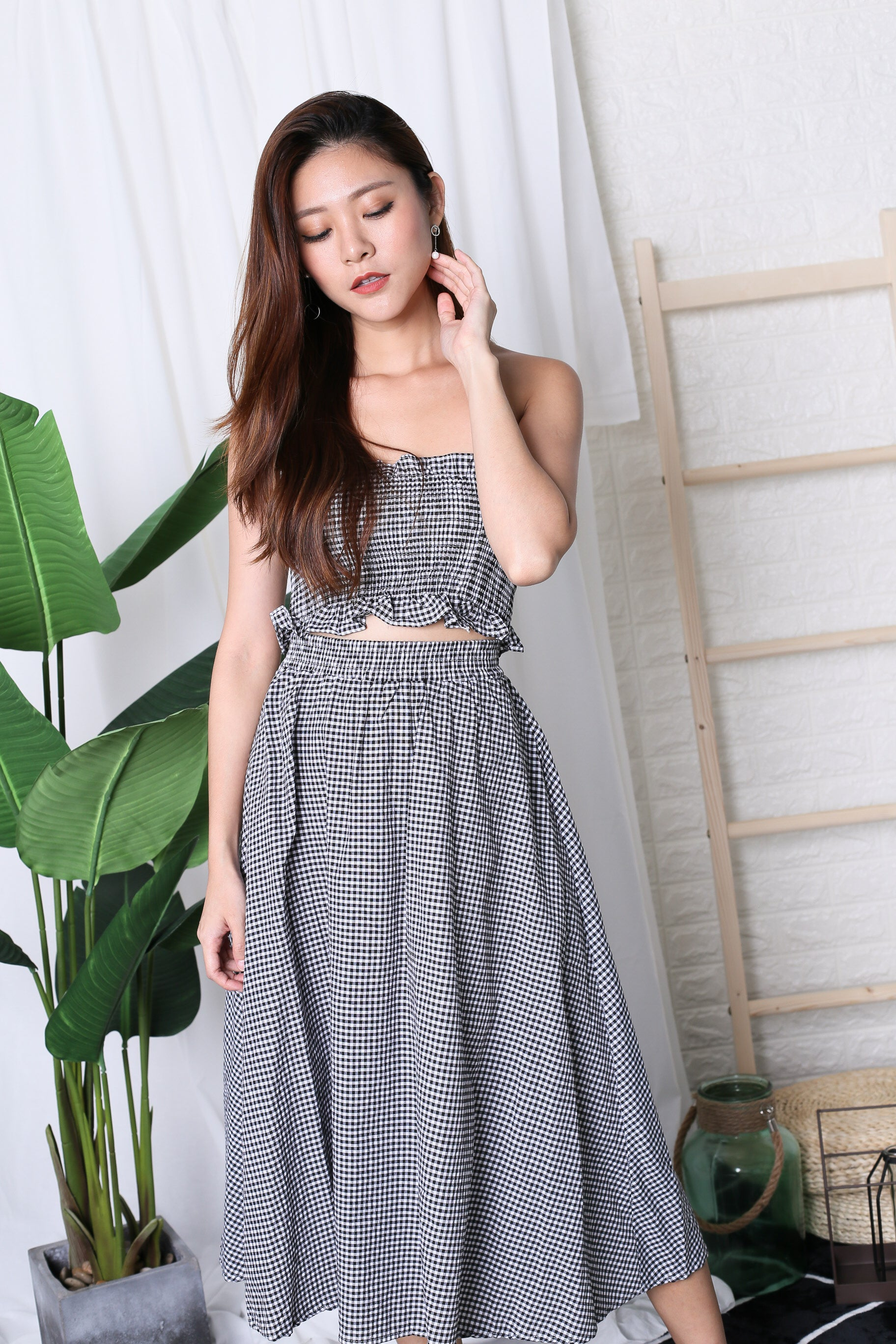 GINGHAM PICNIC SMOCKED TOP AND MIDI SET IN BLACK