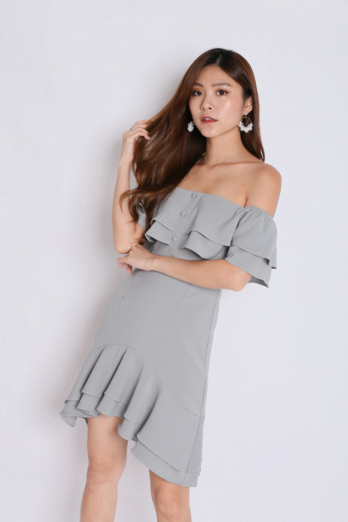 *TPZ* (PREMIUM) FAUSTINE OFF SHOULDER RUFFLES DRESS IN DUSTY SAGE - TOPAZETTE