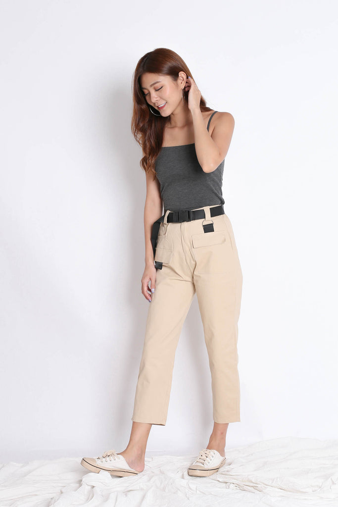 OFF DUTY STRAIGHT CUT CARGO PANTS IN SAND - TOPAZETTE