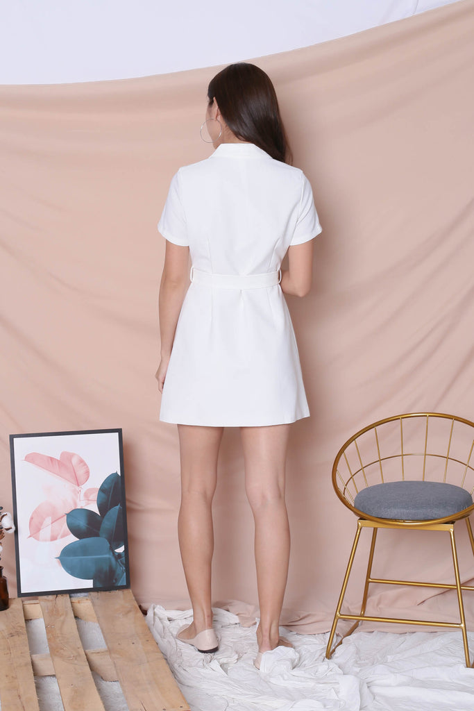 *TPZ* (PREMIUM) DIOR TRENCH BUTTON DRESS IN WHITE - TOPAZETTE