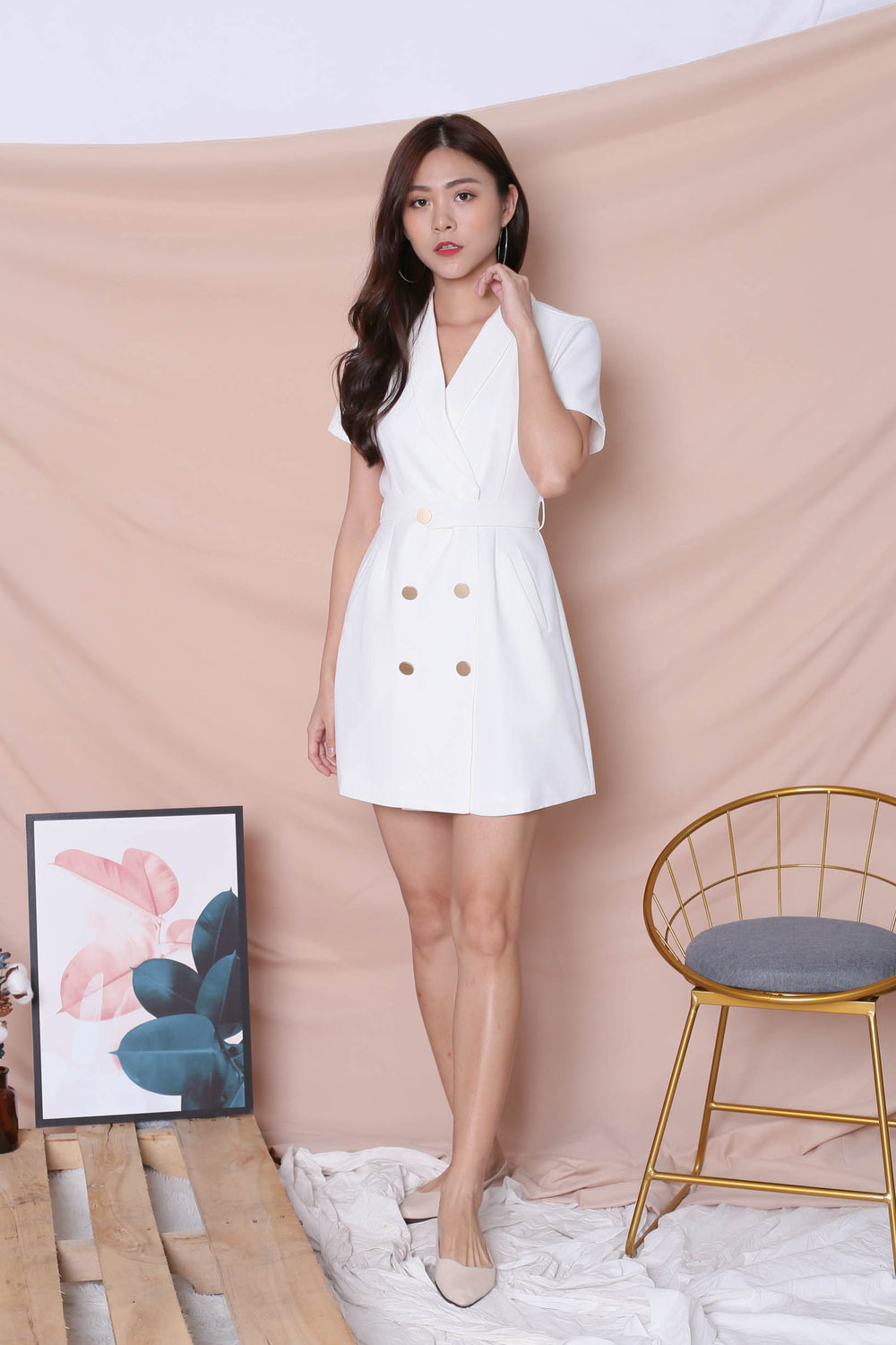 *TPZ* (PREMIUM) DIOR TRENCH BUTTON DRESS IN WHITE